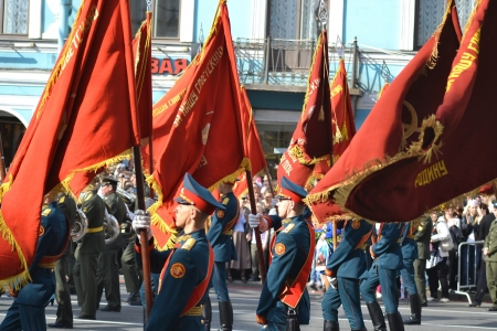 nevsky prospect: St. Petersburg, Russia - May 9, 2013: Victory parade on Nevsky Prospect in St.Petersburg. Standard-bearers carry the banner of victory Editorial