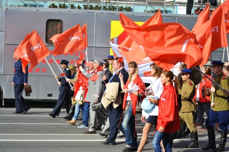 St. Petersburg, Russia - May 9, 2013: Communist demonstration on the Nevsky Prospect on the day of the victory in World War II