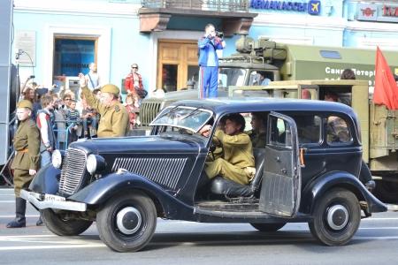 nevsky prospect: St. Petersburg, Russia - May 9, 2013: Victory parade on Nevsky Prospect in St.Petersburg