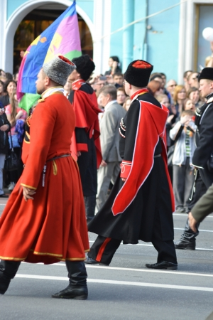 cossack parade: St. Petersburg, Russia - May 9, 2013: Russian Cossacks on Victory parade Editorial