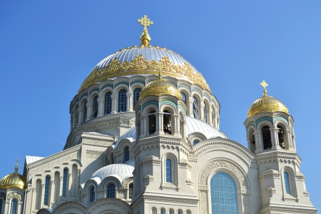 Naval cathedral in Kronstadt at sunny spring day, St.Petersburg, Russia photo