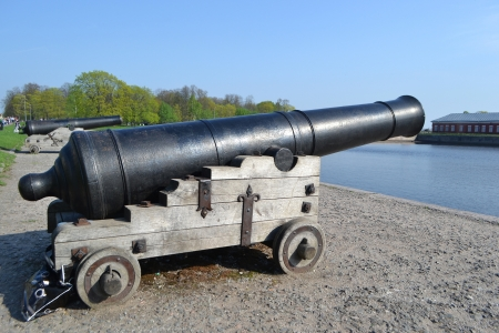 Russian memorial fort cannon at the Kronshtadt, Russia