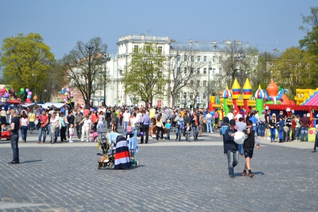 feast day: Kronstadt, Russia - May 18, 2013: The central square in the city of Kronstadt at feast day of the city