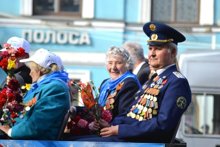 St. Petersburg, Russia - May 9, 2013: Veterans of the Second World War on Victory parade