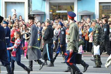 cossack parade: St. Petersburg, Russia - May 9, 2012: Russian Cossacks on Victory parade Editorial