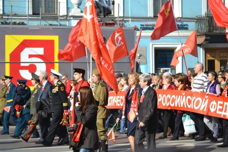 nevsky prospect: St. Petersburg, Russia - May 9, 2013: Communist demonstration on the Nevsky Prospect on the day of the victory in World War II