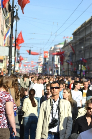 residents: St. Petersburg, Russia - May 9, 2013: Residents of St. Petersburg walk along Nevsky Prospect at Victory Day