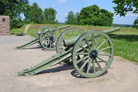gunnery: Antique cannon in Lappeenranta at summer, Finland