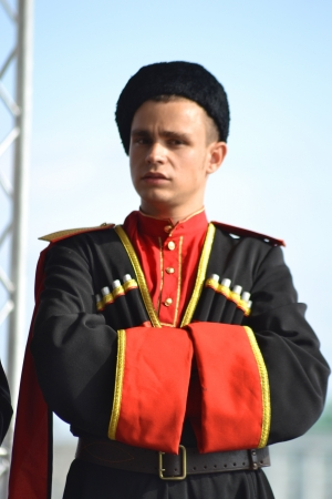 St. Petersburg, Russia: July 28, 2013 - Statement by the Cossack Choir. Portrait of a Cossack.