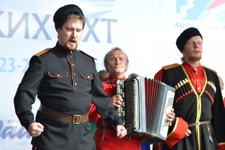 St. Petersburg, Russia: July 28, 2013 - Statement by the Cossack Choir Stock Photo - 21119626