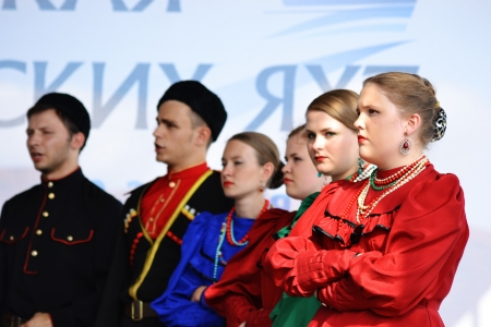 St. Petersburg, Russia: July 28, 2013 - Statement by the Cossack Choir Stock Photo - 21154565