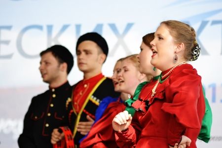 St. Petersburg, Russia: July 28, 2013 - Statement by the Cossack Choir Stock Photo - 21154567