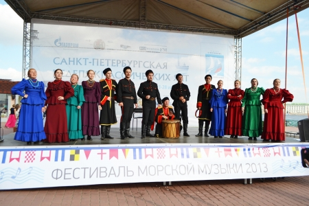 St. Petersburg, Russia: July 28, 2013 - Statement by the Cossack Choir Stock Photo - 21154593