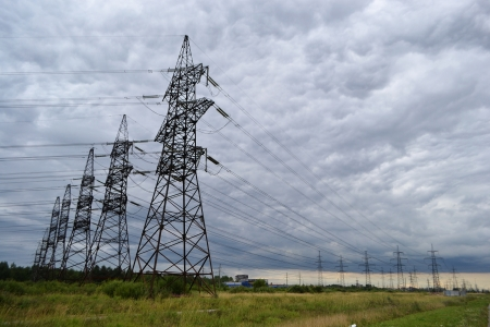 Power line at cloudy day photo