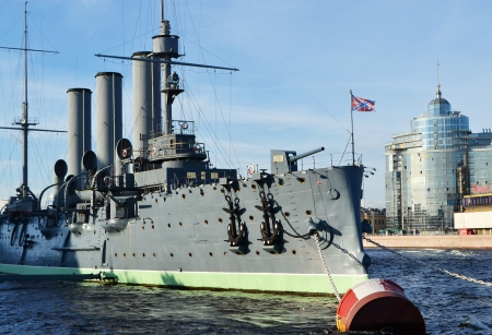 View of Aurora cruiser museum in St.Petersburg, Russia. photo
