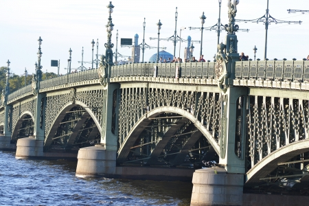 View of the Trinity bridge in St.Petersburg, Russia. photo