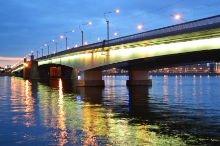 alexander nevsky: View of Alexander Nevsky Bridge at night, St.Petersburg, Russia. Stock Photo