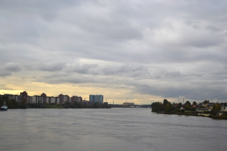 neva: View of Neva river at cloudy day, outskirts of St. Petersburg, Russia. Stock Photo