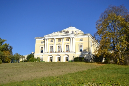 Palace on hill in Pavlovsk park at autumn, St Petersburg, Russia