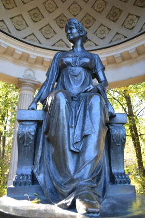 empress: Statue of empress in Rossi Pavilion in Pavlovsk Park, , St Peterburg, Russia