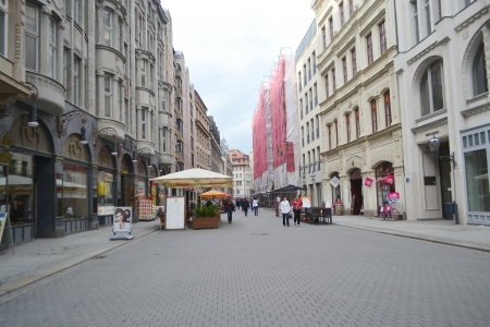 Leipzig, Germany - June 26, 2013: Street in the center of Leipzig, Germany. Leipzig is the largest city in Saxony.