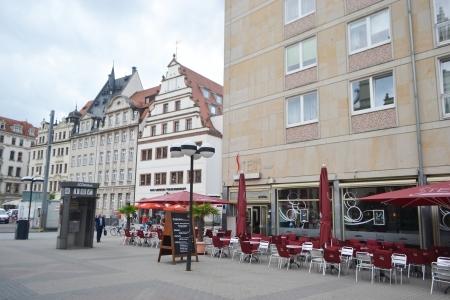 Leipzig, Germany - June 26, 2013: Street in the center of Leipzig, Germany. Leipzig is the largest city in Saxony.