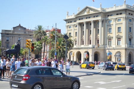 Barcelona, Spain - June 22, 2013:  Street in Barcelona. Barcelona is the capital of Catalonia and the second largest city in Spain.
