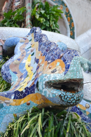 Dragon salamandra in Park Guell of Barcelona, Spain. photo