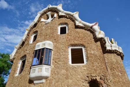 Fairy tale house in Park Guell, Barcelona, Spain. photo