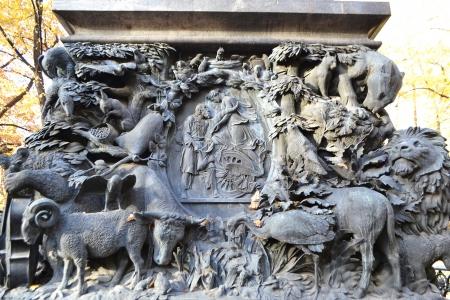 Bas-relief on Krylov monument in Summer Garden, St.Petersburg, Russia.
