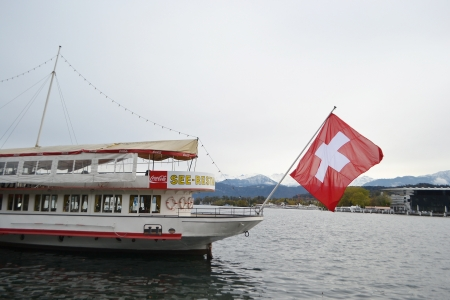 Lucerne, Switzerland - November 5, 2013: Pleasure boat in Lucerne.