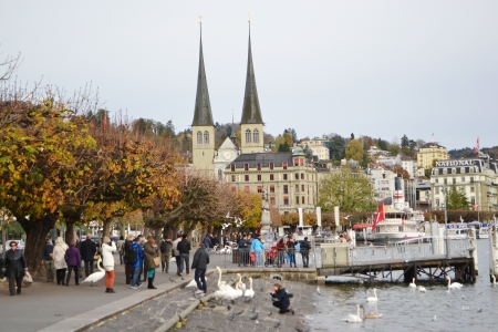 confederation: Lucerne, Switzerland - November 5, 2013: View of quay in center of Lucerne, Switzerland.