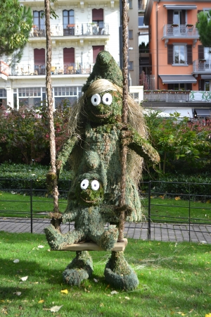 montreux: The original statue created from the needles, Montreux, Switzerland