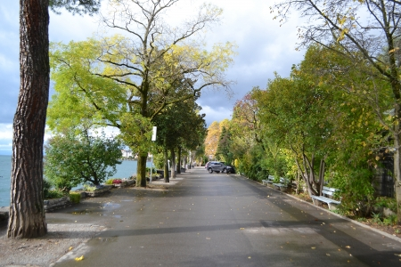 vevey: Photo of embankment in Montreux, Switzerland  Stock Photo