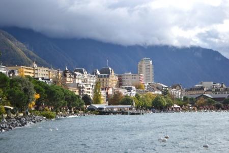 View of Montreux, Genfer See, Schweiz Standard-Bild