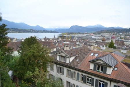 View of Lucerne from a hill on the outskirts of the historic center, Switzerland.