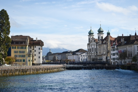 confederation: View of the center of Lucerne, Switzerland. Stock Photo