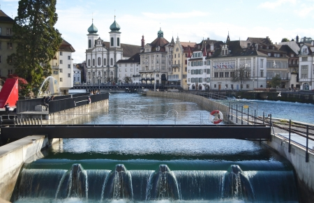 View of Reuss River in center of Lucerne, Switzerland.