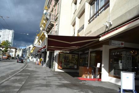 montreux: Montreux, Switzerland - November 6, 2013: Street in Montreux, Switzerland. Montreux is a small resort town on the Swiss Riviera.