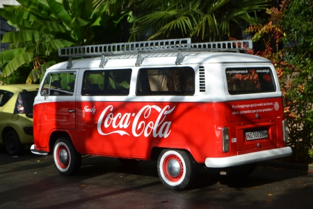 montreux: Montreux, Switzerland - November 6, 2013: Small minibus Coca Cola on street of Montreux, Switzerland.