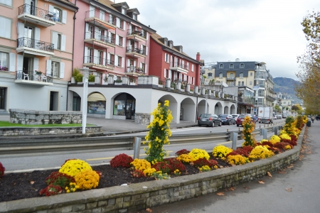 vevey: Street in Vevey, Switzerland. Vevey is a small resort town on the Swiss Riviera. Stock Photo