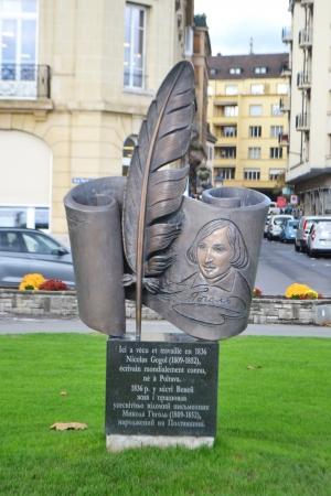 vevey: Monument to Nikolai Gogol in Vevey, Switzerland. Stock Photo