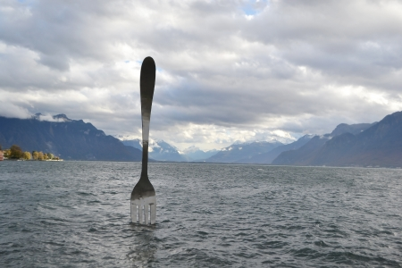 vevey: Giant fork in water. Vevey, Switzerland Editorial