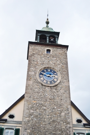vevey: Old Clock Tower in Vevey, Switzerland. Vevey is a small resort town on the Swiss Riviera.