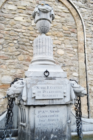 vevey: Old fountain in Vevey, Switzerland.
