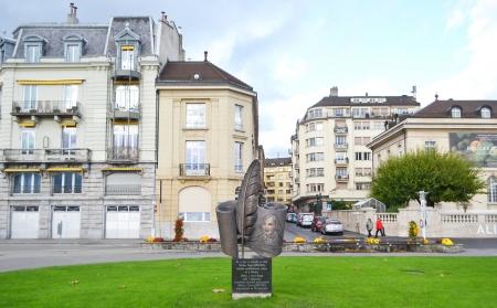 vevey: Vevey, Switzerland - November 6, 2013: Monument to Nikolai Gogol in Vevey, Switzerland.