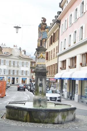 vevey: Vevey, Switzerland - November 6, 2013: Old fountain in Vevey, Switzerland.