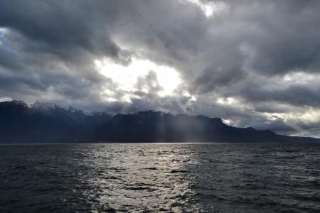 vevey: Mountain and Lake Geneva on a cloudy day, Switzerland