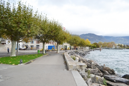 vevey: Embankment in Vevey, Switzerland. Vevey is a small resort town on the Swiss Riviera. Stock Photo