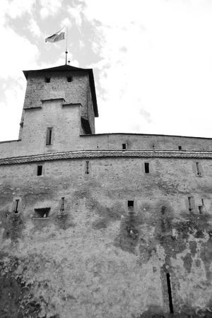 chillon: Chillon Castle near Montreux, Switzerland  Black and white